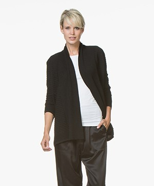 Belluna Torino Open Cardigan in Merino Wool - Black