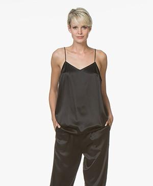 extreme cashmere N°73 Star Zijden Satijnen Top - Satin Black
