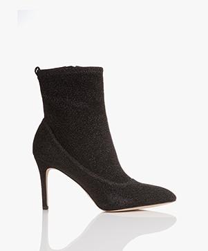 Sam Edelman Olson Pointed Toe Sock Bootie - Black Metallic
