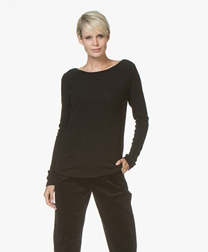 Belluna Como Boat Neck Sweater - Black