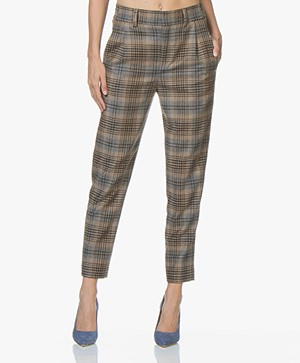 Drykorn Find Tapered Wool Blend Pants - Camel Checkered