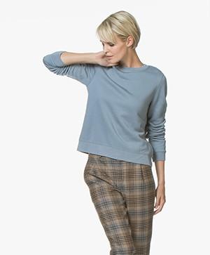 Drykorn Mairina Sweatshirt met Striksluiting - Jeansblauw