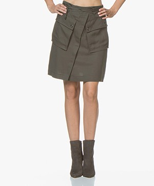 HUGO Rishas Linnenmix Rok - Medium Green