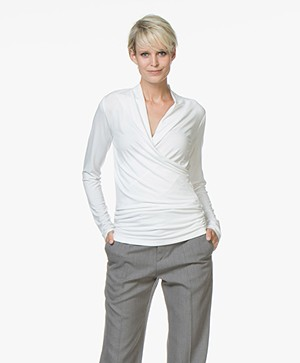 LaSalle Wrap Long Sleeve in Viscose - Panna