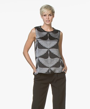 Majestic Silk Printed Top with Jersey Back Panel - Black/Grey