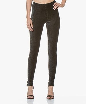 no man's land Velours Legging - Zwart