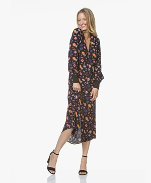 ba&sh Malny Button-down Dress with Print - Black
