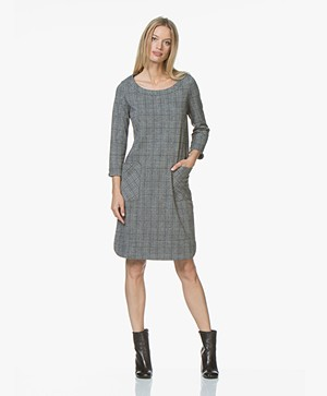 Josephine & Co Josias Checkered Jersey Dress - Dark Grey