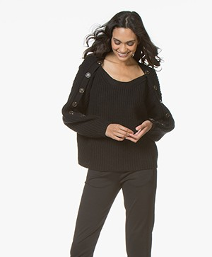 ba&sh Hades Wool Blend Sweater with Buttons - Black