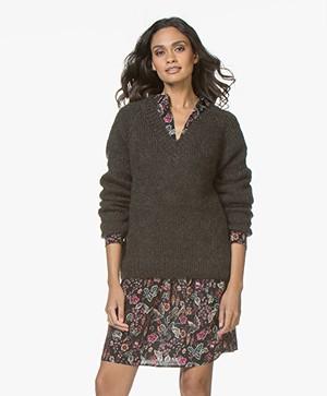 Mes Demoiselles Juverny Mohair Blend V-neck Sweater - Khaki