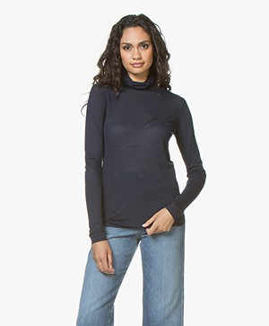 Closed Viscosemix Colshirt met Cashmere - Dark Night