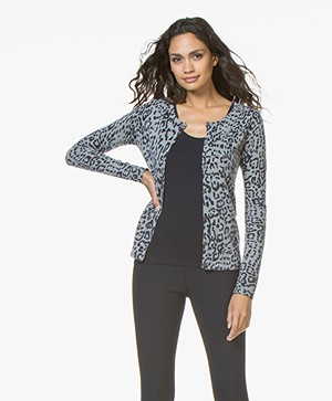 Belluna Player Short Leopard Cardigan - Grey/Blue