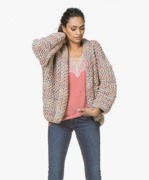 Kiro By Kim Open Ribbon Yarn Cardigan - Pink/Blue/Nude
