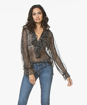 Magali Pascal Leonie Silk Blouse with Lace Closure - Ethnic Black