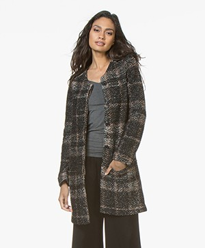 Belluna Blues Wool Blend Boucle Cardigan Coat  - Black/Brick Red