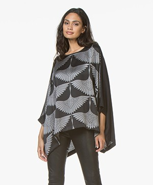 Majestic Filatures Silk Printed Blouse with Jersey Back Panel - Black/Grey