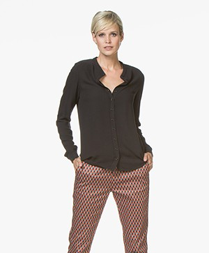 BY-BAR Mimmi Viscose Crêpe Blouse - Phantom Black
