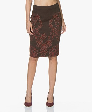 Kyra & Ko Perla Brocade Pencil Skirt - Aubergine
