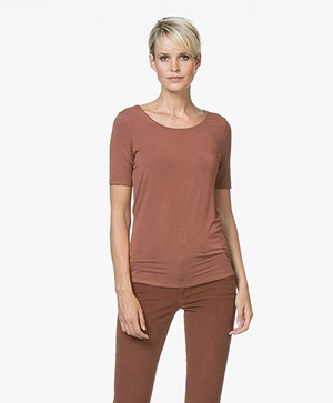 Repeat Viscose T-shirt met Ronde Hals - Brick