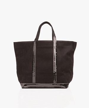 Vanessa Bruno Cabas Moyen Leather Shopper - Black