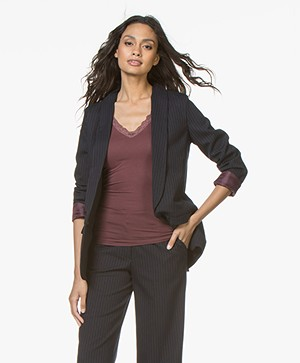 BY-BAR Elin Pinstripe Blazer with Shawl Collar - Dark Navy