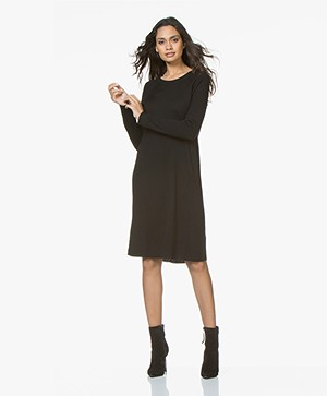 Repeat Knitted Dress in Merino Wool - Black