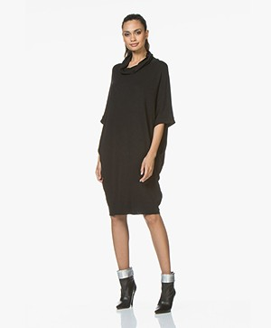 BRAEZ Daine Oversized Jersey Turtleneck Dress - Black