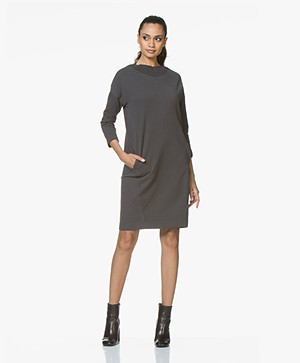 BY-BAR Jikke French Terry Sweaterjurk - Phantom Black