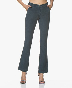 BY-BAR Leila Corduroy Flared Broek - Oil Blue