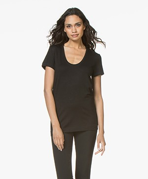 By Malene Birger Fevia Stretch-blend T-shirt - Black