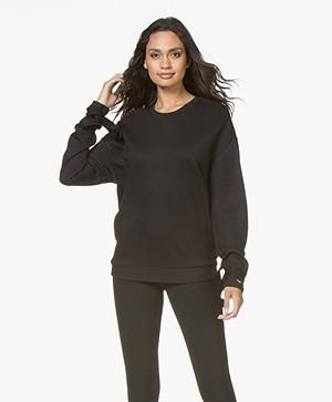 HUGO Newia Sweater met Strikmanchetten - Zwart