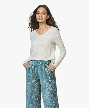 indi & cold V-hals Longsleeve T-shirt - Piedra