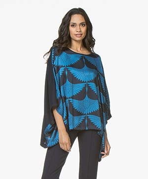 Majestic Filatures Silk Printed Blouse with Jersey Back Panel - Marine/Fidji Blue