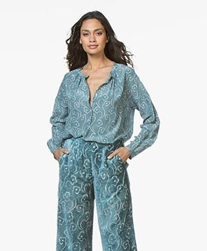 Pomandère Silk Print Blouse - Ice Blue
