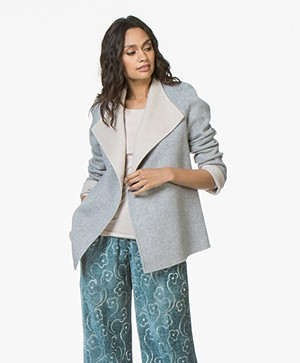 Repeat Two-tone Wool Coat with Cashmere - Light Grey/Cream
