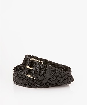 Filippa K Braided Croco Leather Belt - Black Croco
