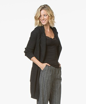 Belluna Jimmy Open Rib Cardigan - Anthracite