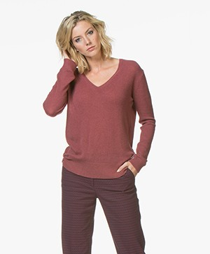 Closed Cashmere V-hals Pullover - Rugby Red