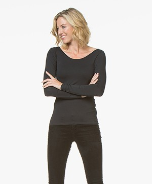Denham Force Viscose Longsleeve - Shadow Black
