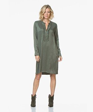 LaSalle Cupro Ruffle Tunic Dress - Khaki Green