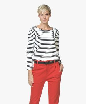 Plein Publique Striped Long Sleeve L'Aimee - White/Navy