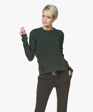 Denham Bell Sweater met Ruches - Deep Seaweed