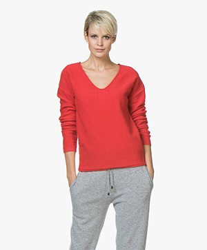Marie Sixtine Kayla V-hals Trui met Mohair - Berry