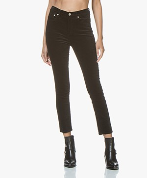 Rag & Bone High Rise Velvet Skinny Jeans - Black
