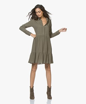 indi & cold Viscose Dress with Peplum Hem - Khaki