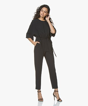 IRO Appreciate Crepe Jumpsuit with Cropped Sleeves - Black
