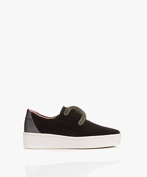 An Hour And A Shower Knot Slip-on Fluwelen Sneakers - Velvet Grijs