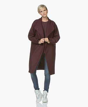 Denham Libertybell Oversized  Wool Coat - Merlot