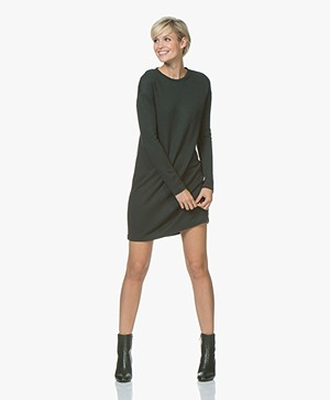Denham Quest Sweater Dress with Pleated Detail - Deep Seaweed