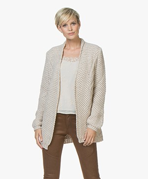 indi & cold Chunky Knit Half Long Cardigan - Crudo